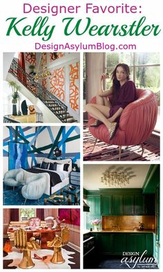 Let's take a look at these interiors designed by Kelly Wearstler and celebrate her birthday with vodka and gummy bears. Kelly Wearstler Wallpaper, Cozy Home Decorating, Asylum, Cozy House, Interior Design Inspiration, Crib, Interior And Exterior, Collaboration, Designers
