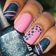 Navy, blue, pink, glitter, stripes, polka dots, nails, nail art