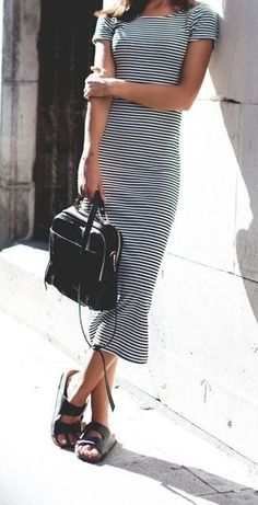 Striped t-shirt dress is a perfect travel-friendly piece this Summer.
