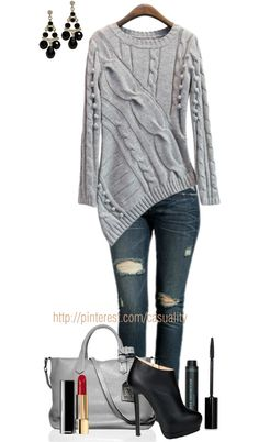 """""""Embellished Cardigan & Denim"""" by casuality on Polyvore"""
