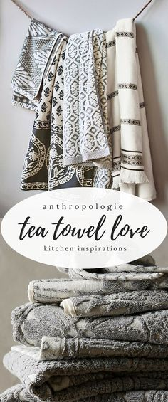 TEA TOWEL LOVE {anthropolgie} || How gorgeous are these #anthro tea towels??? I just adore the white and gray tones, perfect for any style home! I love the textures also, they are perfectly correlated and would look DIVINE hung all together! #teatowels #teatowelsdiy #kitchendecor #bohodecor #farmhousedecor #farmhousekitchen #kitcheninspiration #afflink