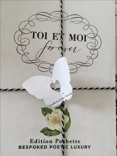 TOI et MOI bespoke card for wedding event in Copenhagen with paper cut butterfly attached