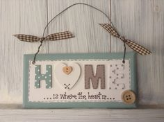 Home Sign Plaque Wooden Button Gingham Ribbon by UntutoredTillyCat