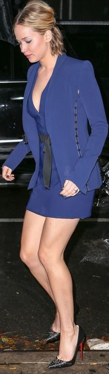 Who made Jennifer Lawrence's blue dress and black studded pumps that she wore in New York?
