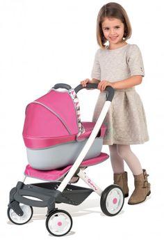 Ružový hlboký a športový retro kočiarik pre bábiky.