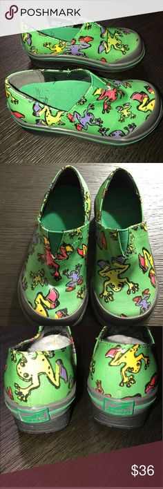 Excellent condition rare Dansko shoes size 26- 8.5 Rare frog print. Bought off another posher but my son does not like them 😕 these retail for$99 - selling them for what I paid. Only worn once. Coated canvas - very cute! Dansko Shoes