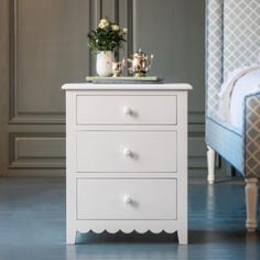 Alice's Scalloped Night Stand by The Beautiful Bed Company Girls Bedroom Furniture, Home Decor Furniture, Furniture Decor, Furniture Stores, Spindle Bed, Bed Company, Small Bookcase, Cleaning Wood, Big Girl Rooms