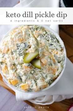Yummy kept recipe for dill pickle dip. This nearly zero carb keto recipe is perf. - Yummy kept recipe for dill pickle dip. This nearly zero carb keto recipe is perfect as a keto snack - Keto Foods, Ketogenic Recipes, Keto Snacks, Healthy Recipes, Easter Recipes Low Carb, Keto Meal, Low Carb Appetizers, Appetizer Recipes, Dip Appetizers