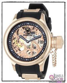 Invicta 1090 Russian Diver Mechanical Skeleton Dial Black Polyurethane Watch NEW #Invicta #Fashion