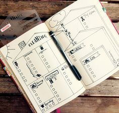 """House Cleaning Stencil - Bullet Journal Stencil, fits TN, Leuchtturm and Moleskine 4"""" by 7"""""""
