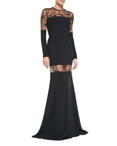 B2TM4 Elie Saab Long-Sleeve Mermaid Gown W/ Lace Inserts bergdorfgoodman.com $3550