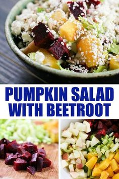 Pumpkin and beetroot salad with celery, apple, gorgonzola cheese, and sunflower and sesame seeds. This salad is a healthy and delicious fall meal! #pumpkinandbeetrootsalad #pumpkinsalad #pumpkinrecipes