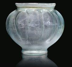 A ROMAN BLUE BLOWN GLASS JAR 1ST-2ND CENTURY A.D., FOUND AT ST. ALBANS