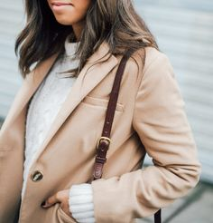 White Cable Sweater & Camel Coat