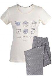 MUZZY nightwear, Piżama z krótkim rękawem w kolorze kremowym . Spodnie ¾, beżowe w kremowe groszki. Więcej na www.muzzy.pl/sklep