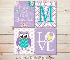 Owl Nursery Art Girls Room Wall Decor Baby Girl by HollyPopDesigns