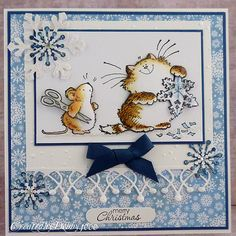 the Penny Black cat and mouse always make me smile...what pretty, sparkly snowflakes they have!!!
