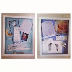 Shadow box with baby stuff from hospital Lifeasamalone.blogspot.com