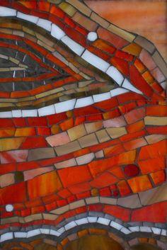 Orange Dreamscape a stained glass mosaic by Kasia Polkowska  https://www.facebook.com/KasiaMosaics