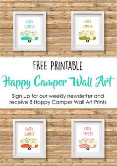 Free Happy Camper Printable Wall Art visit our blog: www.wervtogether.com for your set of Camper Printables