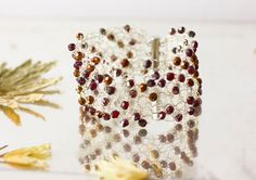 Valentine Crocheted Wire Cuff Bracelet Lace Jewelry  by beadedwire, $40.00
