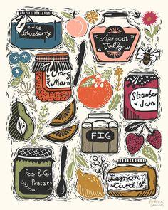 linocut, marmalade, illustration, art, linocut illustration, printmaking illustration, printmaker,  english