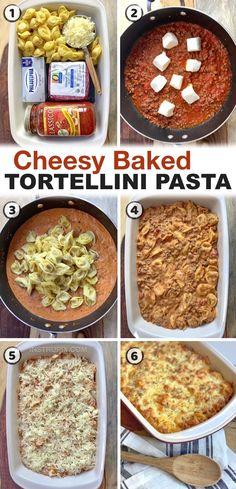 Easy Cheesy Baked Tortellini (With Meat Sauce) - Instrupix Beef Tortellini Recipe, Tortellini Pasta, Baked Cheese Tortellini, Beef Pasta, Easy Casserole Recipes, Easy Dinner Recipes, Easy Meals, Dinner Ideas, Pasta Casserole