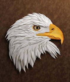 Bald Eagle Sculpture, Framed Wall Art, One-Of-A-Kind Original Paper Sculpture, American Bald Eagle, Perfect for Wildlife Lovers! Wood Carving Designs, Wood Carving Patterns, Wood Carving Art, Wood Art, Art Sculpture En Bois, Book Sculpture, Art Mural 3d, 3d Wall Art, Paper Illustration