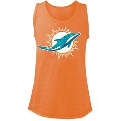 Miami Dolphins 5th & Ocean by New Era Girls Youth Leopard Logo Tri-Blend Tank Top - Orange - $17.59