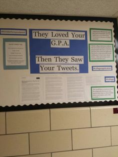 Another posting in a school. Again reaching out to people and letting them know that what is posted online can have real world consequences. Counseling Bulletin Boards, School Bulletin Boards, School Classroom, Counselor Office, High School Counseling, Career Counseling, Montessori, Resident Assistant, Student Council