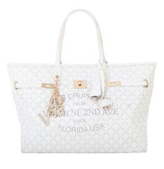 #V73 Miami Bag Big Size White Shop now on https://www.v73.us/borse-shopping/miami #Miami #Bag Concealed magnetic snap closure, Printed canvas, Charms shown in photo included, Metal feet at the base, Pochette inside.H: 30 CM W: 55 CM D: 16 CM