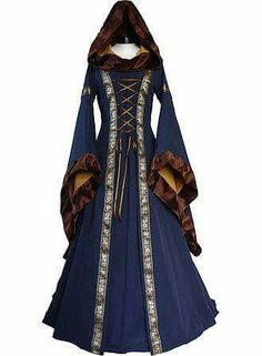 Lovely cold weather gown with a faux fur lined hood and sleeves.