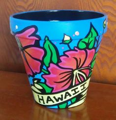 Handpainted terracotta pot HAWAIIAN Themed...also in ETSY under CRAWFORD BUNCH Shop.