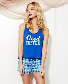 Need Coffee PJ Short Set