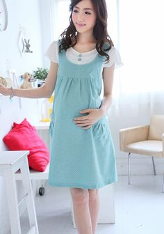 Casual Cotton blend Dot Pattern Maternity Dress Sweet Patchwork Pregnancy Dresses Loose-fitting Print Pregnant