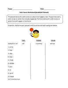Identifying Past,Present or Future Verb Tenses Worksheet ...