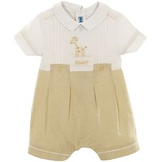 White and Cream Baby Boys Romper £31.99. So cute details. gingham inserts, fake button up, applique.