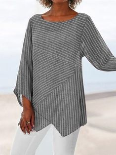 Crew Neck Long Sleeve Paneled Holiday Shirts & Tops fylcst - Women Long Sleeve Shirts - Ideas of Wom Striped Long Sleeve Shirt, Long Sleeve Shirts, Striped Shirts, Striped Tops, Casual Tops For Women, Types Of Sleeves, Blouse Designs, Clothes, Crew Neck