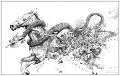 Damaged [Reminiscent of the Story of The Scorpion and the Frog] By John James Valley Scorpion, My Drawings, Horses, Rock, Art, Horse, Drawing Drawing, Scorpio, Art Background