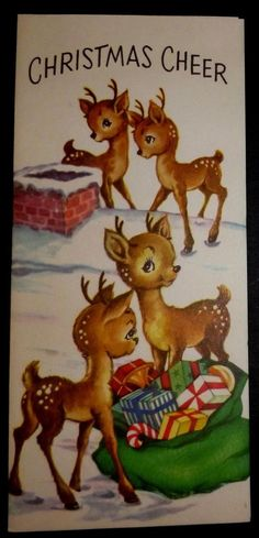 UNUSED - Darling Little Fawns on Rooftop Vintage Christmas Greeting Card in Collectibles, Paper, Vintage Greeting Cards, Christmas Vintage Christmas Images, Old Christmas, Old Fashioned Christmas, Christmas Scenes, Retro Christmas, Vintage Holiday, Christmas Pictures, Xmas, Christmas Mantles