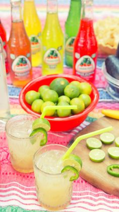Have a fiesta-themed party, and include these spicy cocktails! Limón-Lime Jalapeño cocktails have a spicy kick that guests will love. Recipe: Make a simple syrup including sliced jalapeños, sugar, and water. Once cooled, remove jalapeños, add a dash to a glass of ice, and fill with 1-2 shots of Bacardí Limón, lime juice, lemonade, and ice. Garnish with limes and jalapeño slices, and enjoy! (sp)