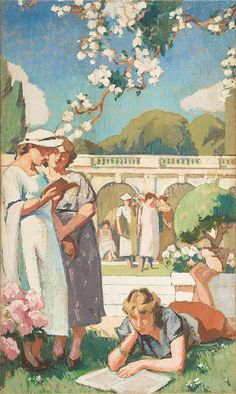 Paul Hugues  (1891-1972)- Women in the Park,