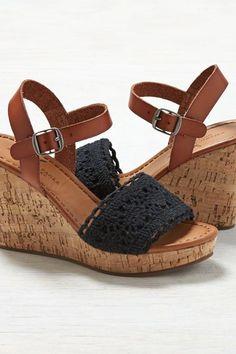 980c6aab2a AEO Crochet Wedge Sandals, Women's, Size: 9, Black Womens Clearance,  American