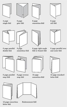 Common folds used in print production and bookmaking