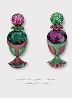 hemmerle Earrings, Purple and Green