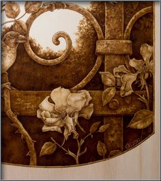 whimsical pyrography | Iron Fence with Sparrows pyrography
