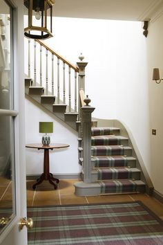 Anta Cawdor Stair Runner from Kelaty Tartan Stair Carpet, Carpet Stair Treads, Carpet Runner On Stairs, Striped Carpet Stairs, Painted Staircases, Painted Stairs, Cosy Dining Room, Staircase Makeover, Hall Carpet