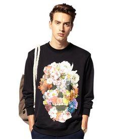 FLOWERSKULL Black Sweatshirt $60.00