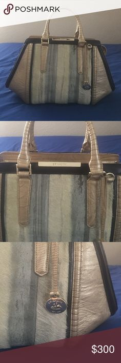 Cute Brahmin Purse!! Gently used Brahmin purse with gold leather and fur details on front of bag! Brahmin Bags Totes
