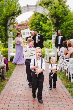 Set of 3 Wedding Signs | Here Comes the Bride! + Hooray! + Hurry Up I Want Cake! | Flag Package Ring Bearer Banners Flower Girls Made in USA